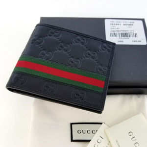 Gucci Mens Black Bi fold Web Strip Wallet